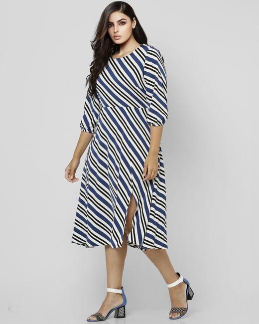 White Striped Midi Dress