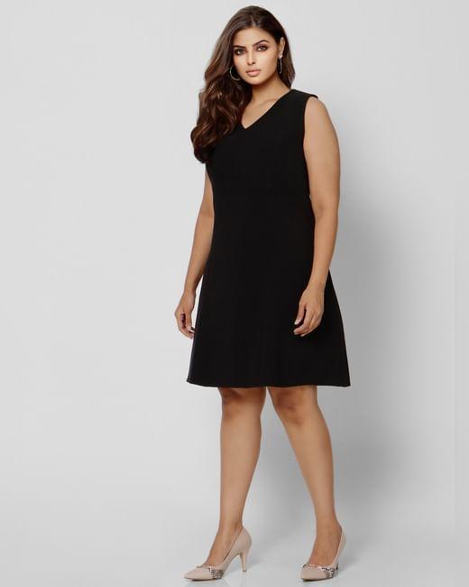 Black V Neck Shift Dress