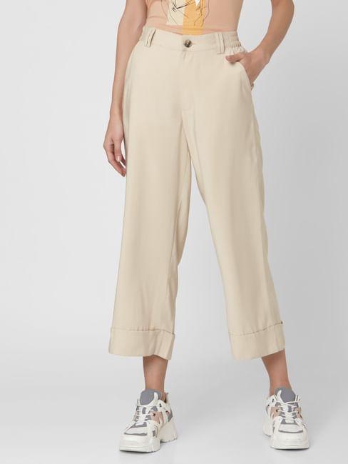 Beige Mid Rise Wide Leg Pants