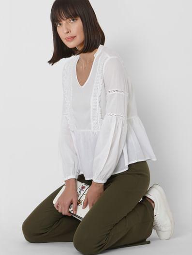 White Lace Detail Top
