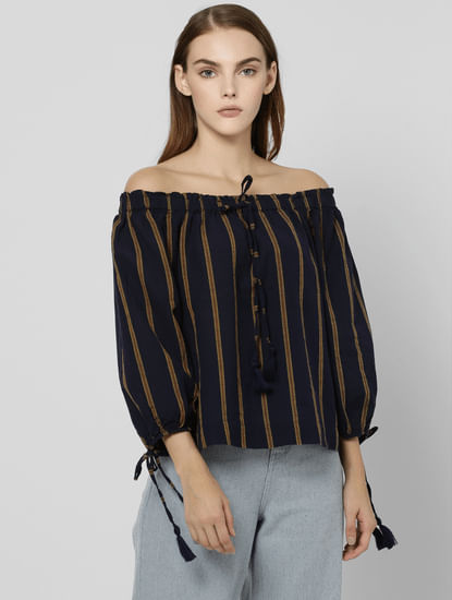 Black Striped Off Shoulder Crop Top