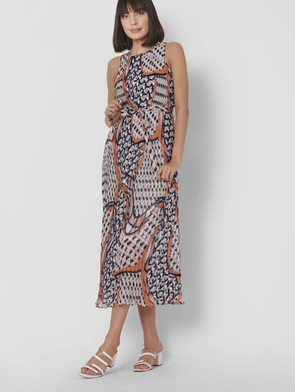 Multi-Coloured All Over Geometric Print Pleated Maxi Dress
