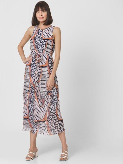 Multi-Coloured All Over Geometric Print Pleated Maxi Dress