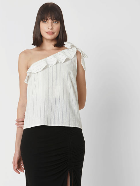 White One Shoulder Striped Top