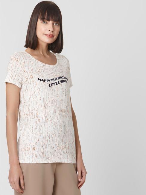 White Typography Print T-shirt