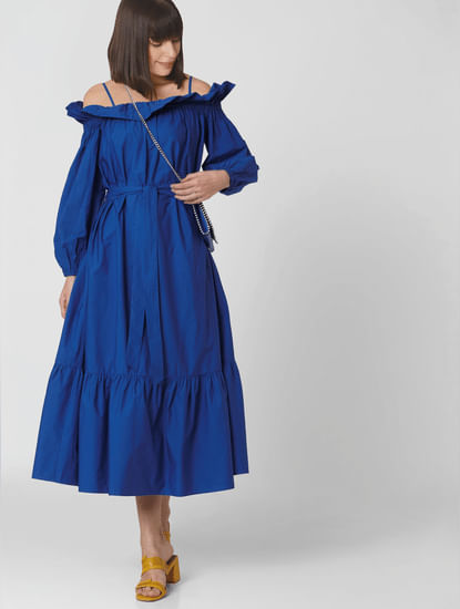 Blue Off Shoulder Ruffle Maxi Dress