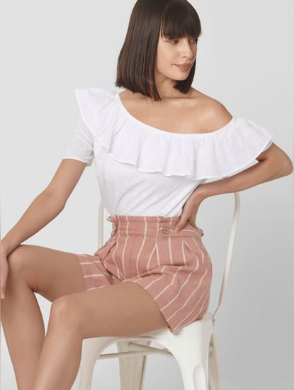 White Off Shoulder Cut Work Top