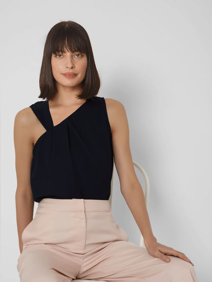 Blue Asymmetric Neckline Top