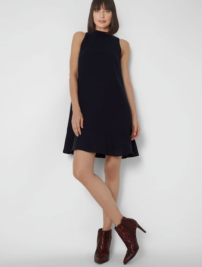 Blue Sleeveless Shift Dress