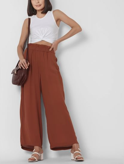 Brown High Rise Wide Leg Pants