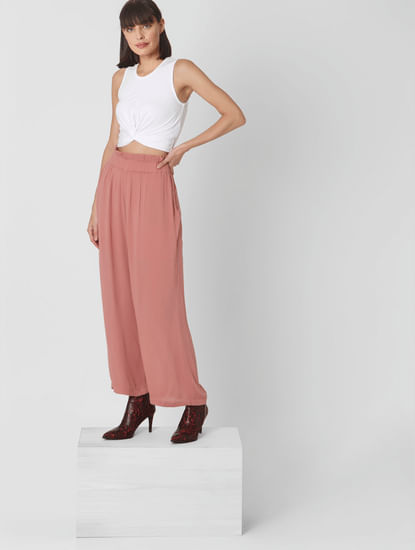 Pink High Rise Wide Leg Pants