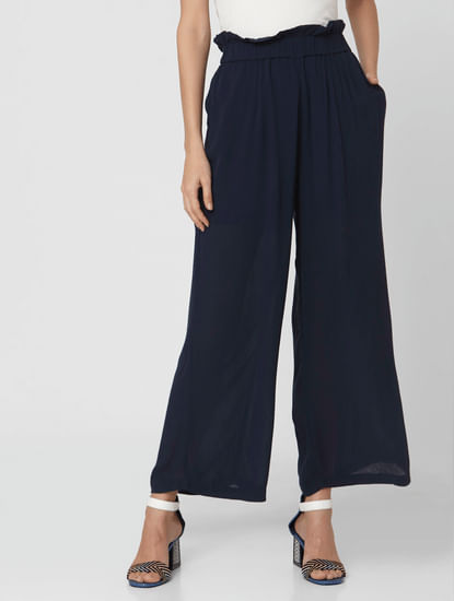 Navy Blue High Rise Wide Leg Pants