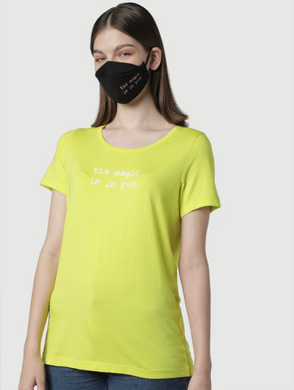 Yellow Text Print T-shirt & Mask