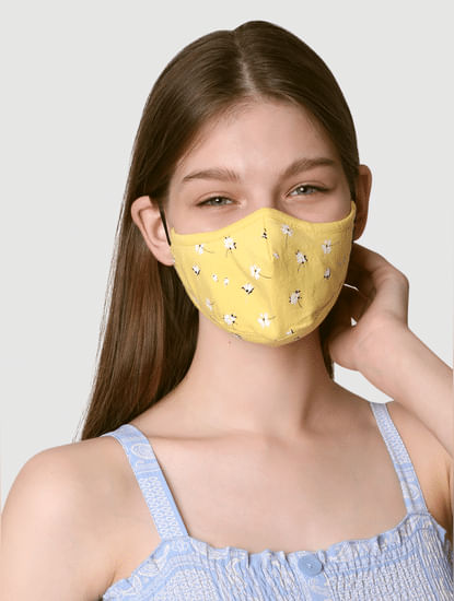 Pack of 2 Knit 3PLY Anti-Bacterial Mask-Yellow