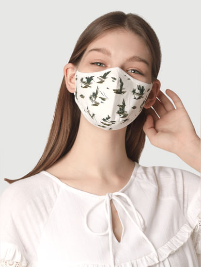 Pack of 2 Knit 3PLY Anti-Bacterial Mask- White & Green