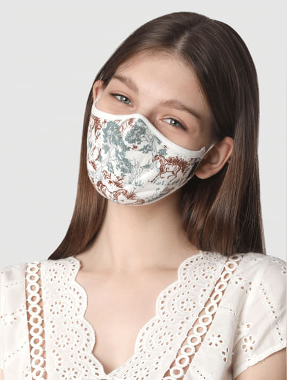 Pack of 2 Knit 3PLY Anti-Bacterial Mask- White & Brown