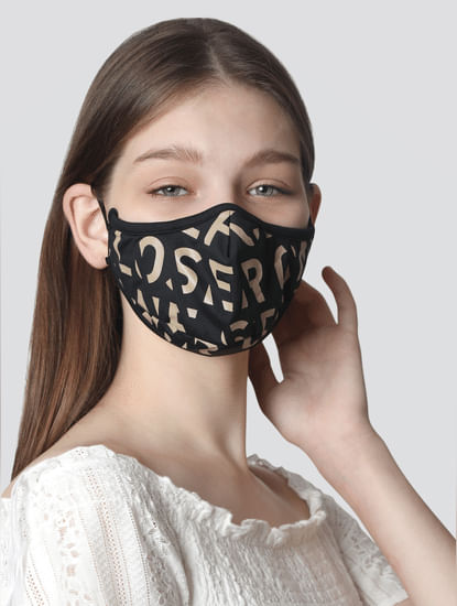 Pack of 2 Knit 3PLY Anti-Bacterial Mask-Black & White