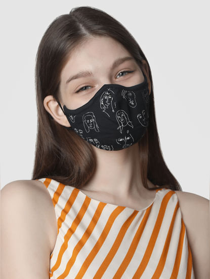 Pack of 2 Knit 3PLY Anti-Bacterial Mask- Black & Off-White