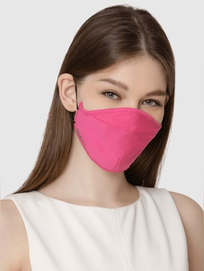 Pack of 2 Knit 3PLY Anti-Bacterial Mask- Black & Pink