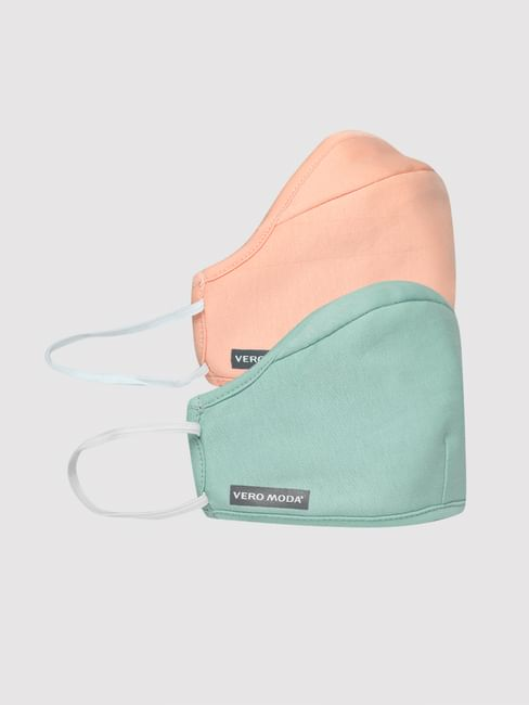 Pack of 2 Knit 3PLY Anti-Bacterial Mask- Pink & Green