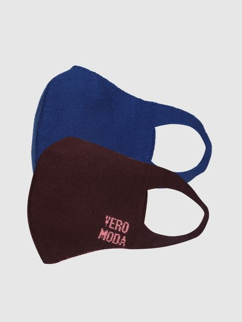 Pack of 2 Seamless Knit 2PLY Anti-Bacterial Mask-Blue & Maroon