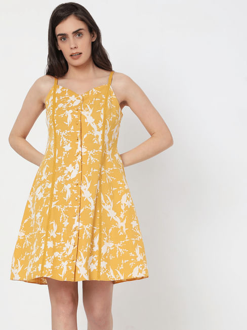 Yellow Floral Strappy Dress