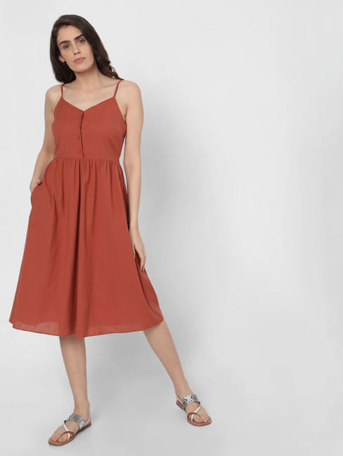 Brown Strappy Fit & Flare Dress