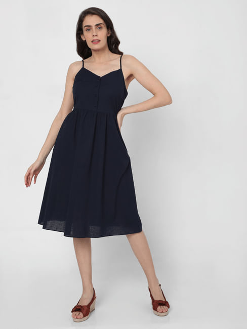 Blue Strappy Fit & Flare Dress