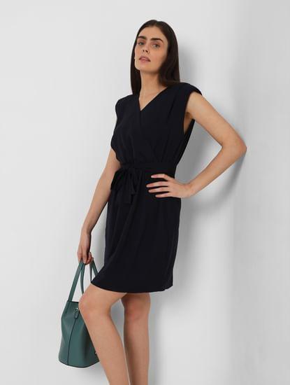 Navy Blue Wrap Dress