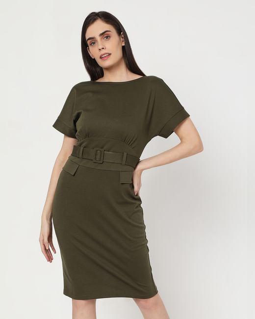 Green Tailored Bodycon Dress