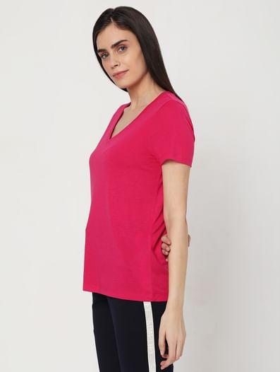 Fuchsia Pink V Neck T-shirt