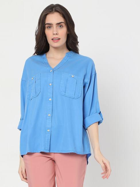 Blue Box Pleat Pocket Shirt