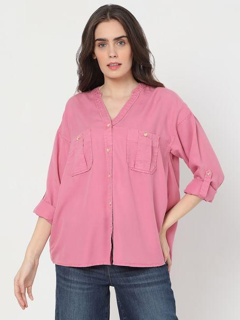 Pink Box Pleat Pocket Shirt
