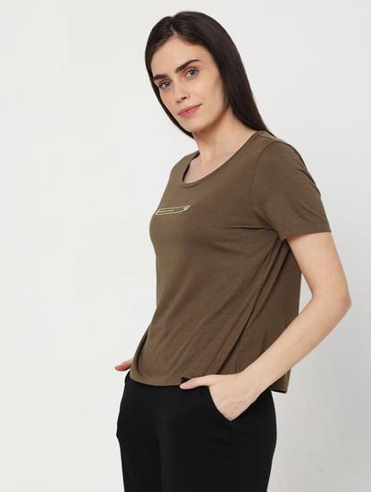 Brown Slogan Print T-shirt