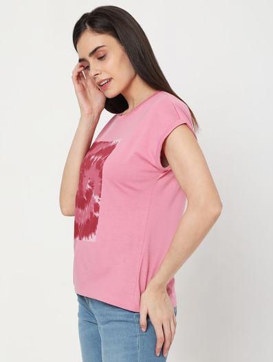Pink Tie Dye Patch Print T-shirt