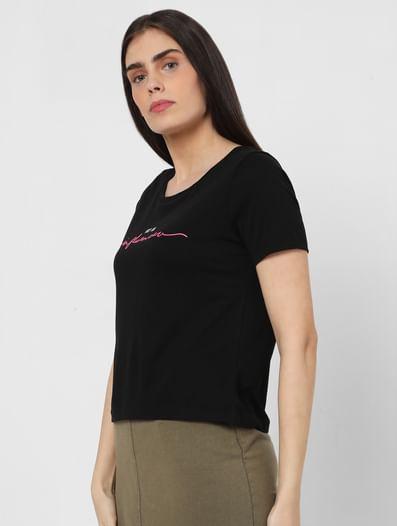 Black Slogan Print Cropped T-shirt