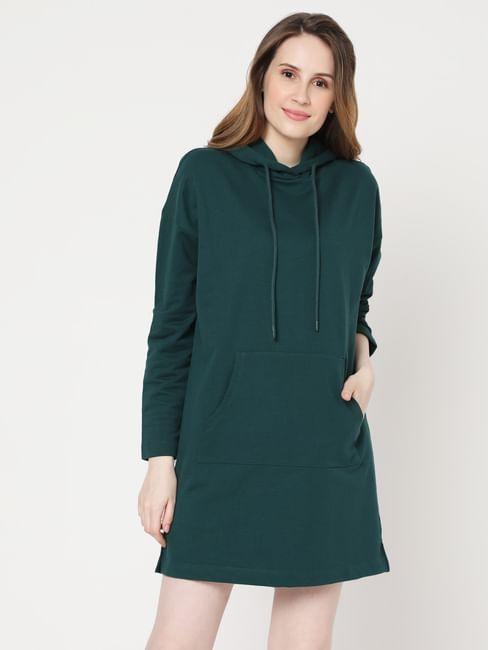Green Hooded Sweater Dress