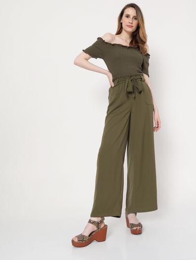 Green High Rise Wide Leg Pants