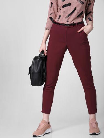 Burgundy Mid Rise Slim Trousers