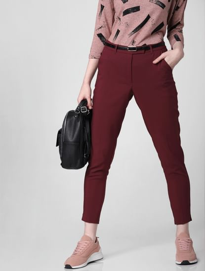 Burgundy Mid Rise Slim Trousers