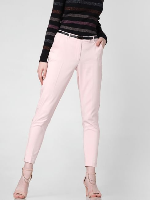 Pink Mid Rise Slim Trousers