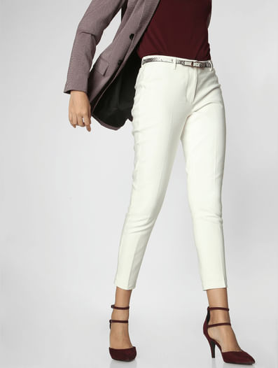 White Mid Rise Slim Trousers