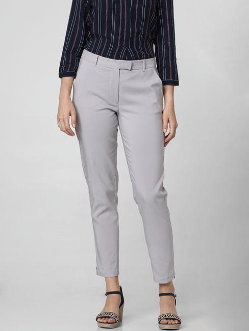 Grey Mid Rise Slim Trousers