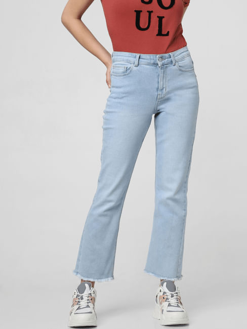 Light Blue Mid Rise Kick Flared Jeans
