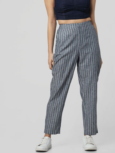 Grey Mid Rise Striped Pants