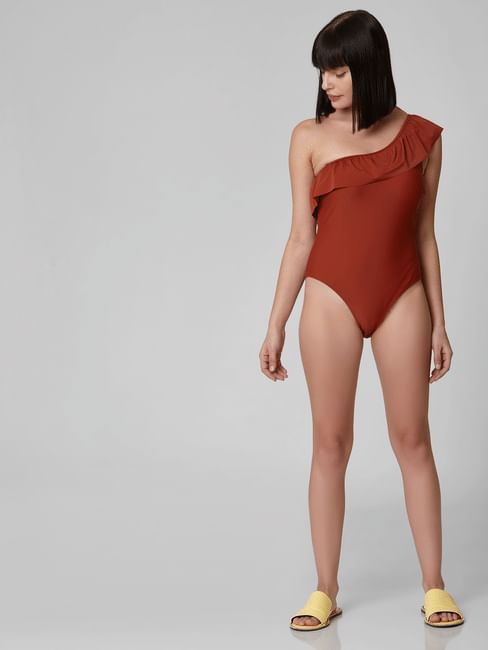 Brown One-Shoulder Swimsuit