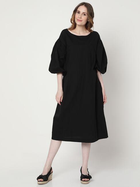 Black Puff Sleeves Midi Dress