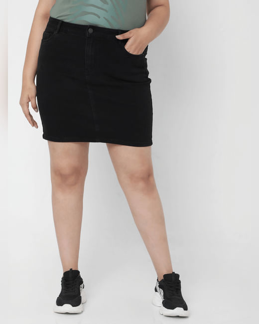 Black Mid Rise Denim Skirt