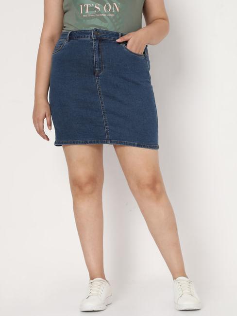 Blue Mid Rise Denim Skirt