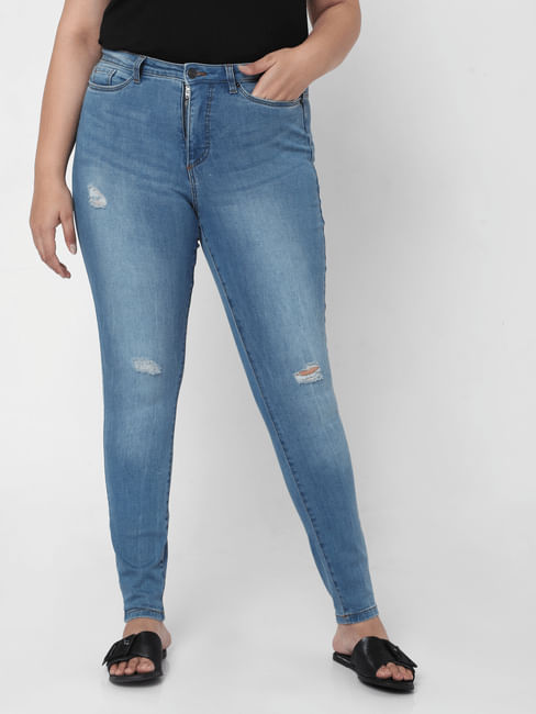 Blue High Rise Distressed Skinny Jeans